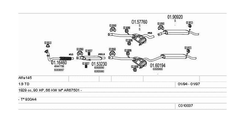 Výfukový systém ALFA ROMEO Alfa145 1.9 1929ccm 66kw