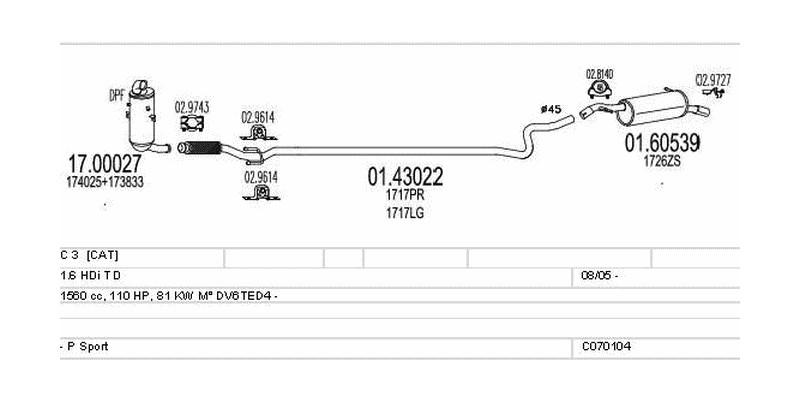 Výfukový systém CITROEN C 3 1.6 1560ccm 81kw