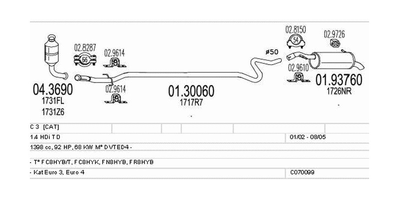 Výfukový systém CITROEN C 3 I 1.4 1398ccm 68kw