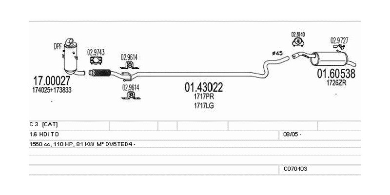Výfukový systém CITROEN C 3 I 1.6 1560ccm 81kw