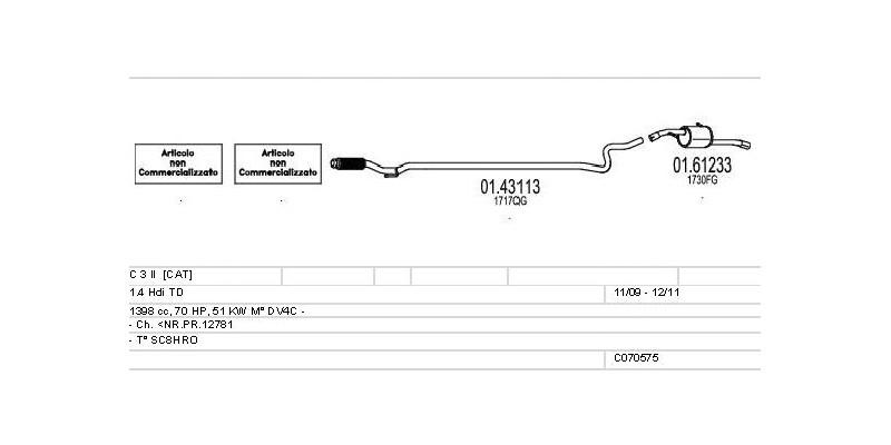 Výfukový systém CITROEN C 3 II 1.4 1398ccm 51kw