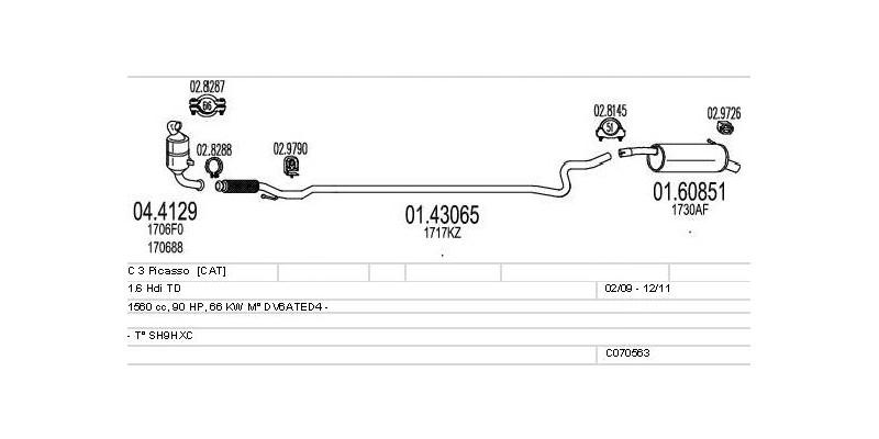 Výfukový systém CITROEN C 3 Picasso 1.6 1560ccm 66kw