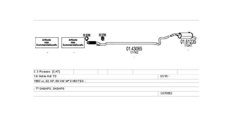 Výfukový systém CITROEN C 3 Picasso 1.6 1560ccm 68kw