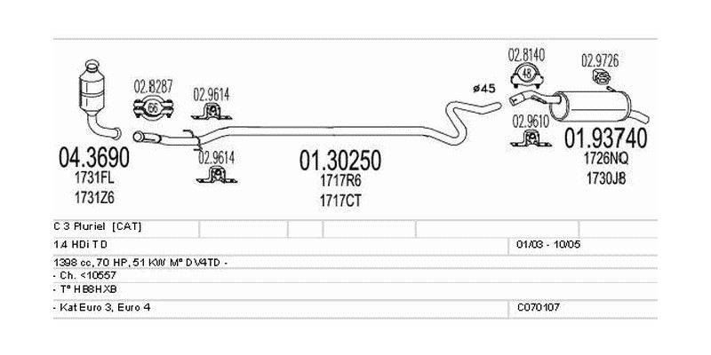 Výfukový systém CITROEN C 3 Pluriel 1.4 1398ccm 51kw