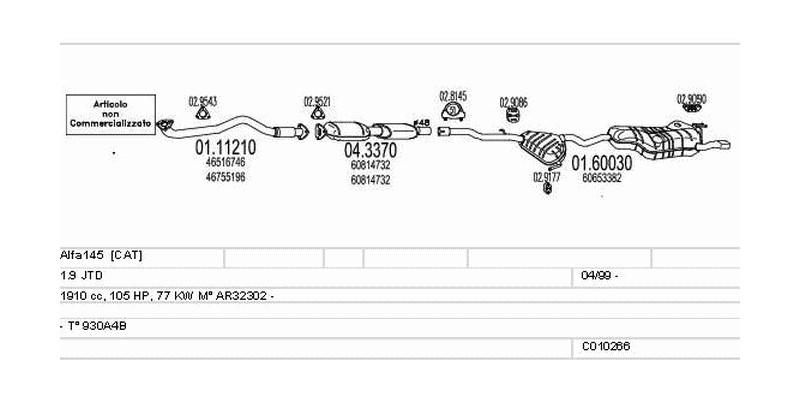 Výfukový systém ALFA ROMEO Alfa145 1.9 1910ccm 77kw