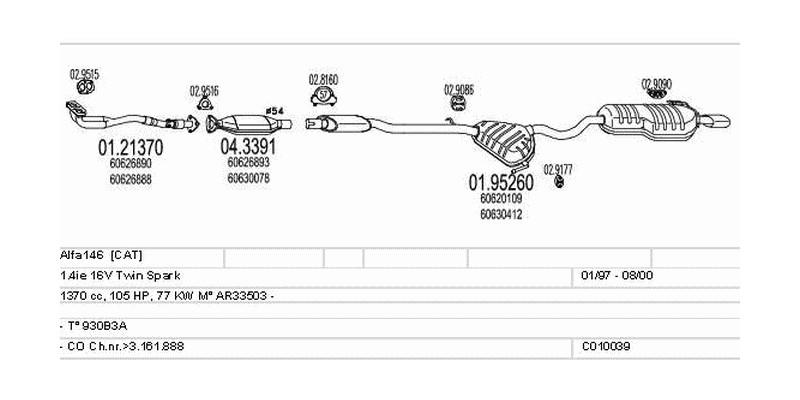 Výfukový systém ALFA ROMEO Alfa146 1.4 1370ccm 77kw