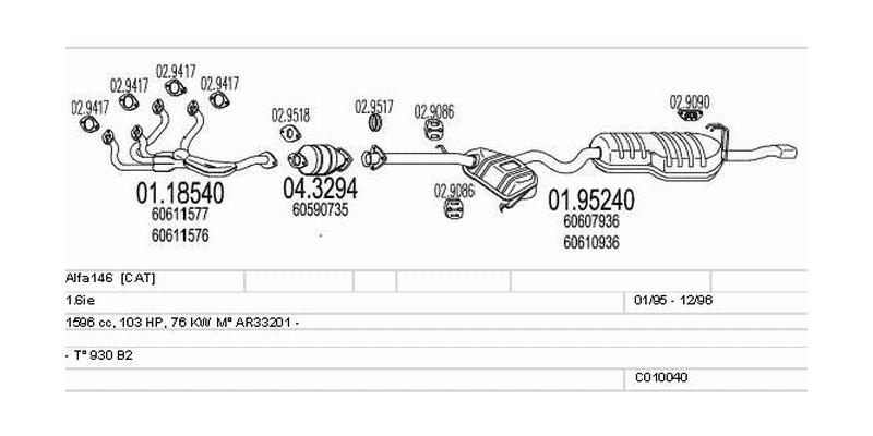 Výfukový systém ALFA ROMEO Alfa146 1.6 1596ccm 76kw