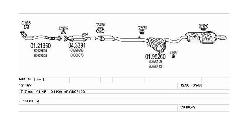 Výfukový systém ALFA ROMEO Alfa146 1.8 1747ccm 104kw