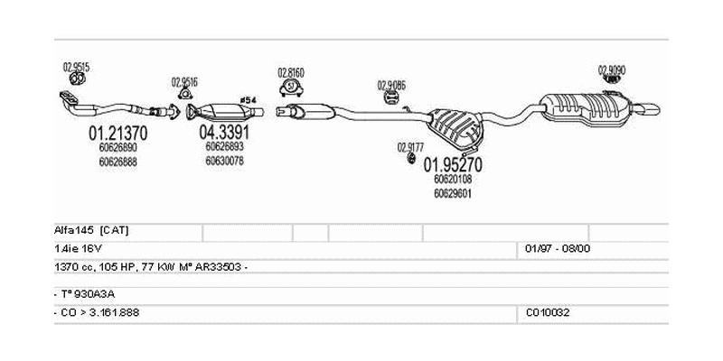 Výfukový systém ALFA ROMEO Alfa145 1.4 1370ccm 77kw