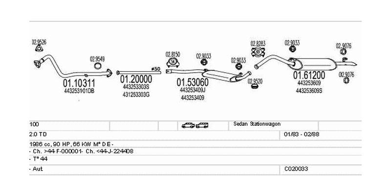 Výfukový systém AUDI 100 2.0 1986ccm 66kw Sedan Stationwagon
