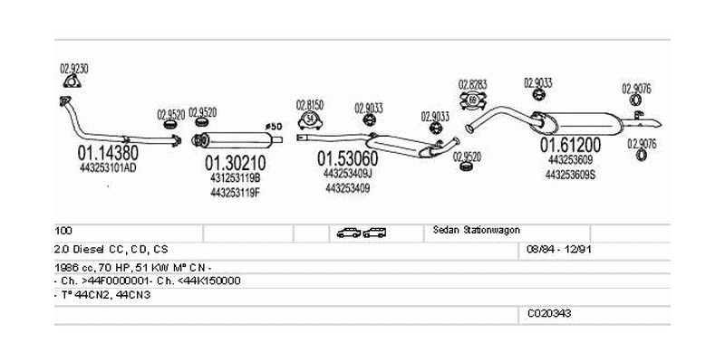 Výfukový systém AUDI 100 2.0 1986ccm 51kw Sedan Stationwagon