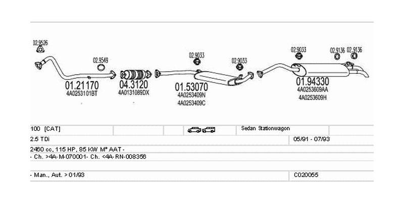 Výfukový systém AUDI 100 2.5 2460ccm 85kw Sedan Stationwagon