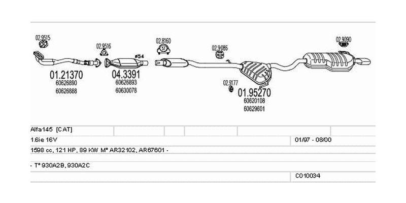 Výfukový systém ALFA ROMEO Alfa145 1.6 1598ccm 89kw