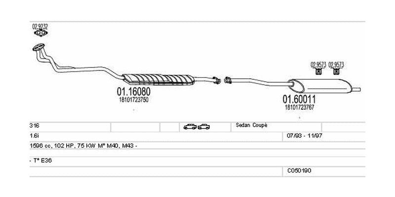 Výfukový systém BMW 316 1.6 1596ccm 75kw Sedan Coupé