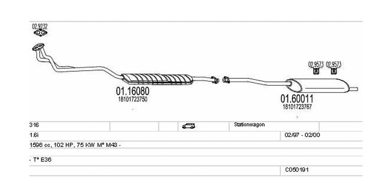 Výfukový systém BMW 316 1.6 1596ccm 75kw Stationwagon