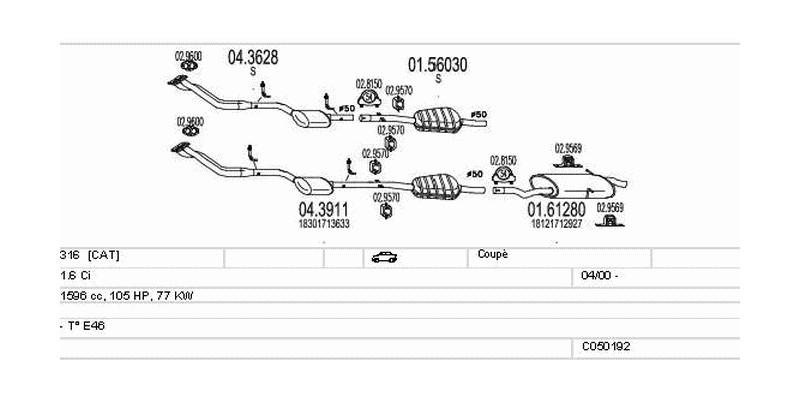 Výfukový systém BMW 316 1.6 1596ccm 77kw Coupé