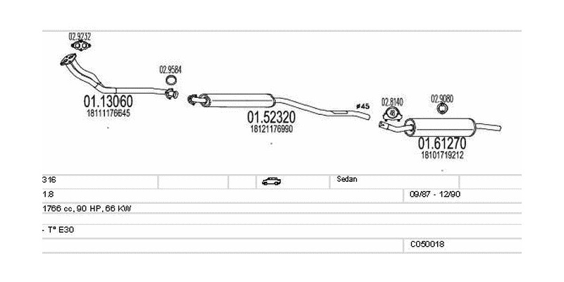 Výfukový systém BMW 316 1.8 1766ccm 66kw Sedan