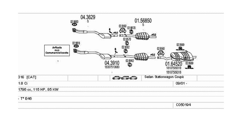 Výfukový systém BMW 316 1.8 1796ccm 85kw Sedan Stationwagon Coupé