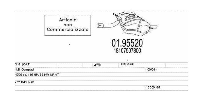 Výfukový systém BMW 316 1.8 1796ccm 85kw Hatchback