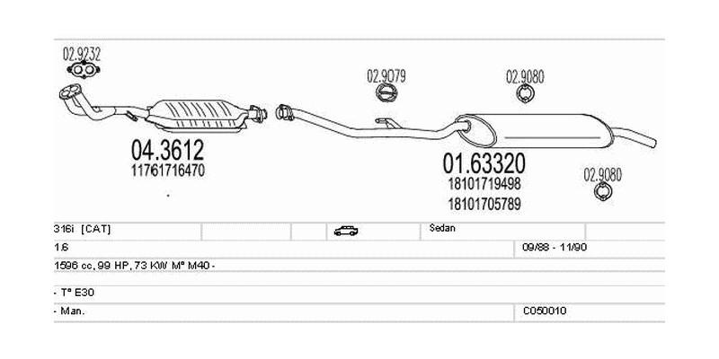 Výfukový systém BMW 316i 1.6 1596ccm 73kw Sedan