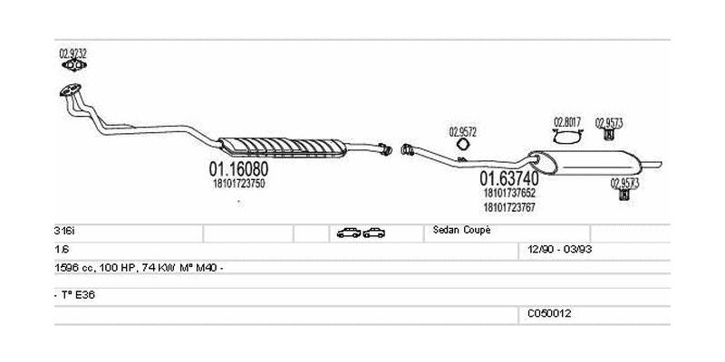 Výfukový systém BMW 316i 1.6 1596ccm 74kw Sedan Coupé