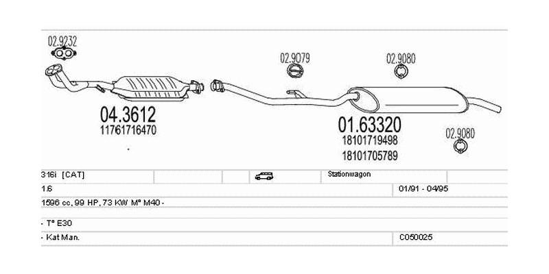Výfukový systém BMW 316i 1.6 1596ccm 73kw Stationwagon