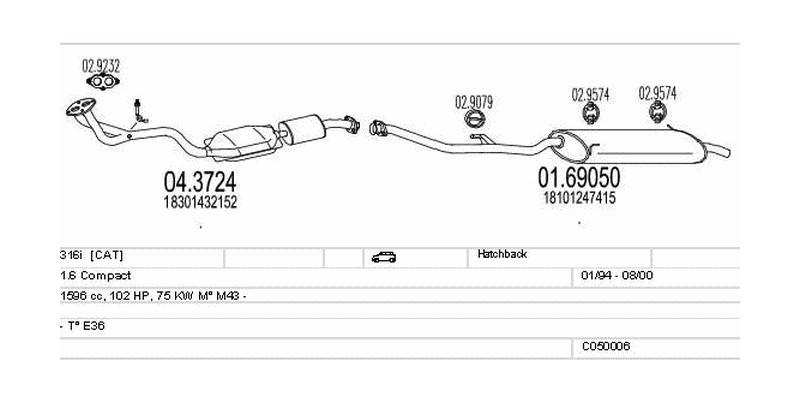 Výfukový systém BMW 316i 1.6 1596ccm 75kw Hatchback