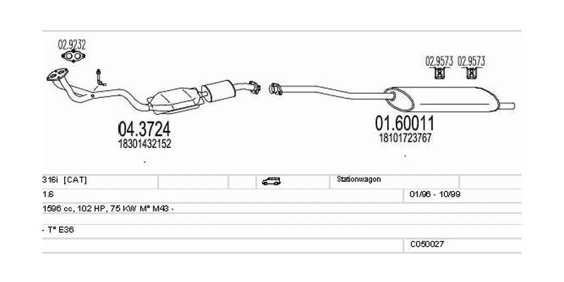 Výfukový systém BMW 316i 1.6 1596ccm 75kw Stationwagon
