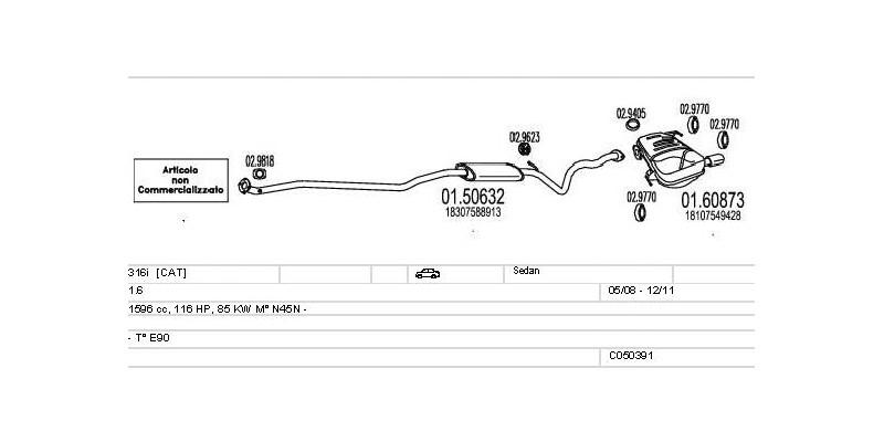 Výfukový systém BMW 316i 1.6 1596ccm 85kw Sedan