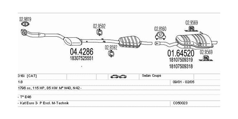 Výfukový systém BMW 316i 1.8 1796ccm 85kw Sedan Coupé