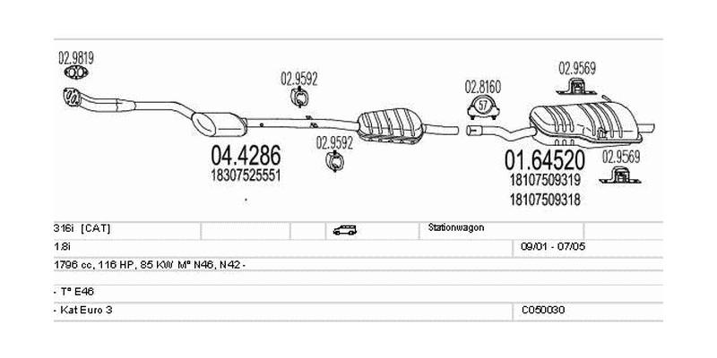 Výfukový systém BMW 316i 1.8 1796ccm 85kw Stationwagon