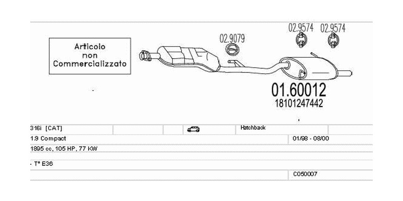 Výfukový systém BMW 316i 1.9 1895ccm 77kw Hatchback