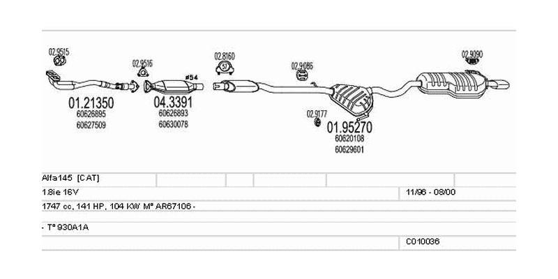 Výfukový systém ALFA ROMEO Alfa145 1.8 1747ccm 104kw