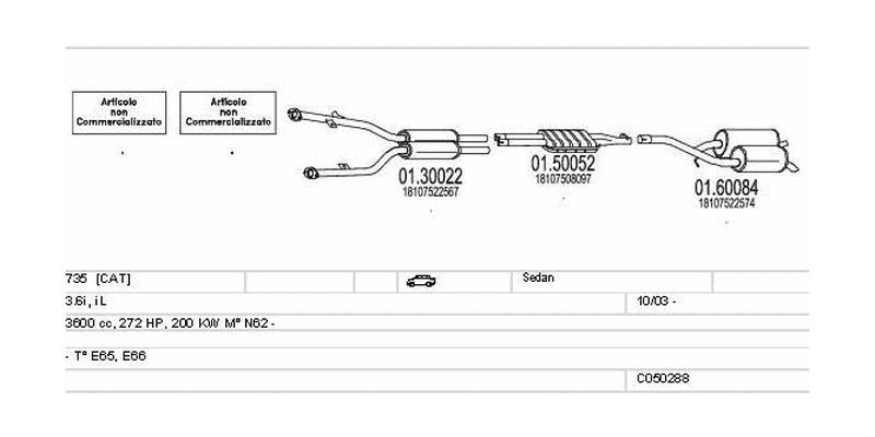 Výfukový systém BMW 735 3.6 3600ccm 200kw Sedan