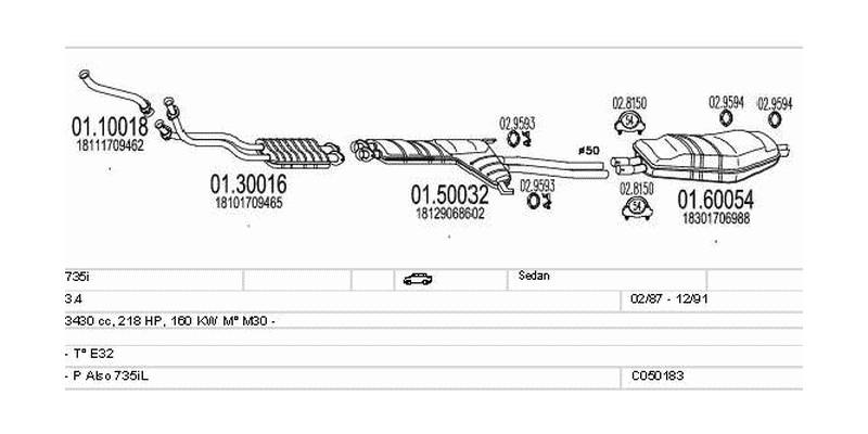 Výfukový systém BMW 735i 3.4 3430ccm 160kw Sedan