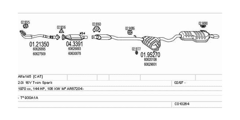 Výfukový systém ALFA ROMEO Alfa145 2.0 1970ccm 106kw